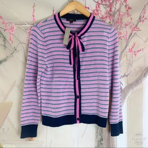 NEW J Crew Bow Tie Lady Cardigan In Fuchsia